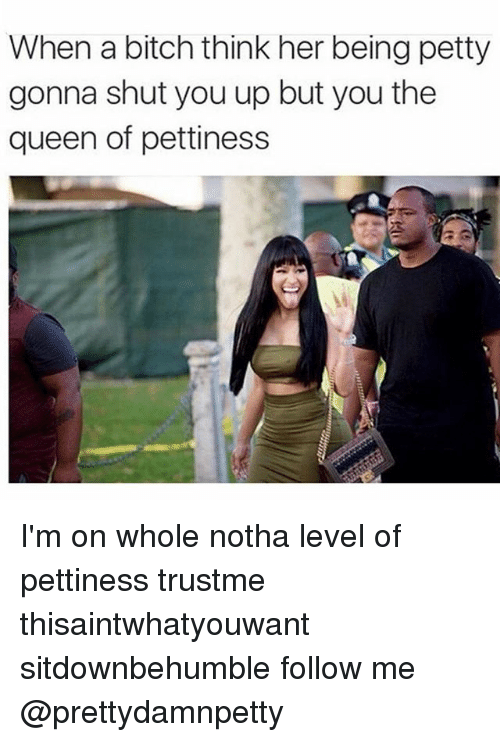 Bitch, Memes, and Petty: When a bitch think her being petty  gonna shut you up but you the  queen of pettiness I'm on whole notha level of pettiness trustme thisaintwhatyouwant sitdownbehumble follow me @prettydamnpetty