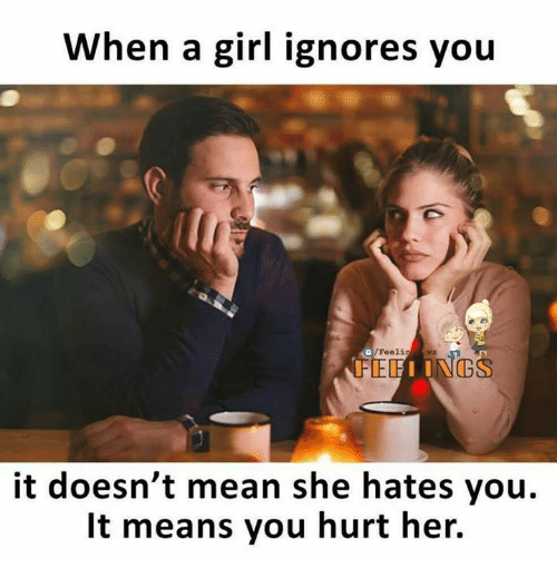 Memes, Girl, and Mean: When a girl ignores you  /Feelin  it doesn't mean she hates you.  It means you hurt her.