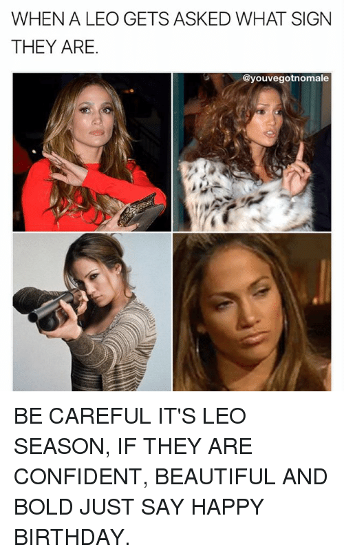 Beautiful, Birthday, and Memes: WHEN A LEO GETS ASKED WHAT SIGN  THEY ARE.  @youvegotnomale BE CAREFUL IT'S LEO SEASON, IF THEY ARE CONFIDENT, BEAUTIFUL AND BOLD JUST SAY HAPPY BIRTHDAY.