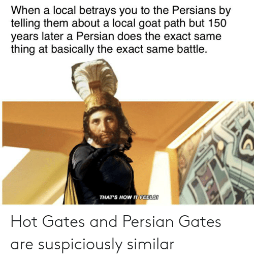 Goat, History, and Persian: When a local betrays you to the Persians by  telling them about a local goat path but 150  years later a Persian does the exact same  thing at basically the exact same battle.  THATS HOW IT FEELS! Hot Gates and Persian Gates are suspiciously similar