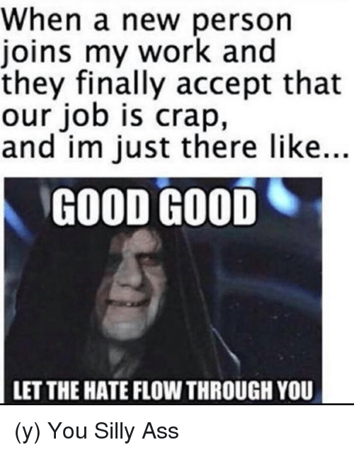 when a new person joins my work and they finally 5819237 ✅ 25 best memes about good let the hate good let the hate memes