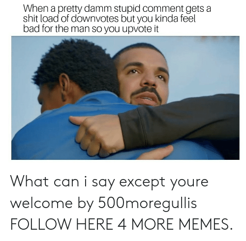 Bad, Dank, and Memes: When a pretty damm stupid comment gets a  shit load of downvotes but you kinda feel  bad for the man so you upvote it What can i say except youre welcome by 500moregullis FOLLOW HERE 4 MORE MEMES.