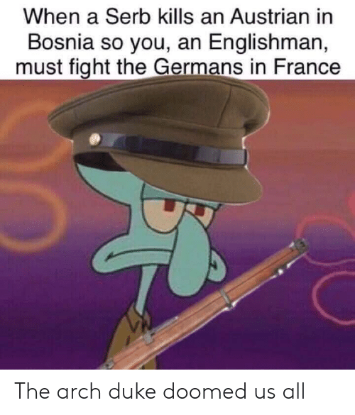 Duke, France, and Austrian: When a Serb kills an Austrian in  Bosnia so you, an Englishman,  must fight the Germans in France The arch duke doomed us all