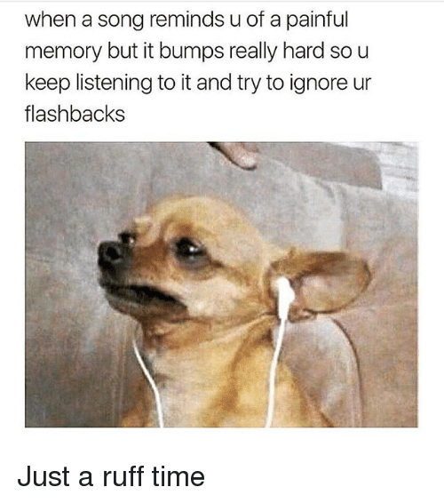 Memes, Time, and A Song: when a song reminds u of a painful  memory but it bumps really hard so u  keep listening to it and try to ignore ur  flashbacks Just a ruff time