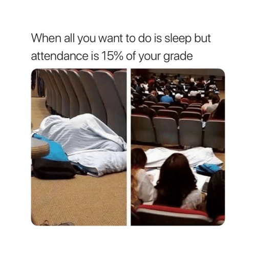 Sleep, All, and You: When all you want to do is sleep but  attendance is 15% of your grade