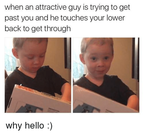 Hello, Memes, and Back: when an attractive guy is trying to get  past you and he touches your lower  back to get through why hello :)
