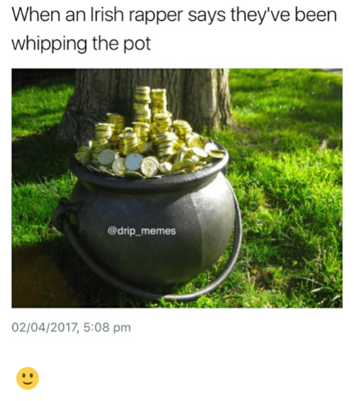 Irish, Memes, and Been: When an Irish rapper says they've been  whipping the pot  @drip memes  02/04/2017, 5:08 pm 🙂