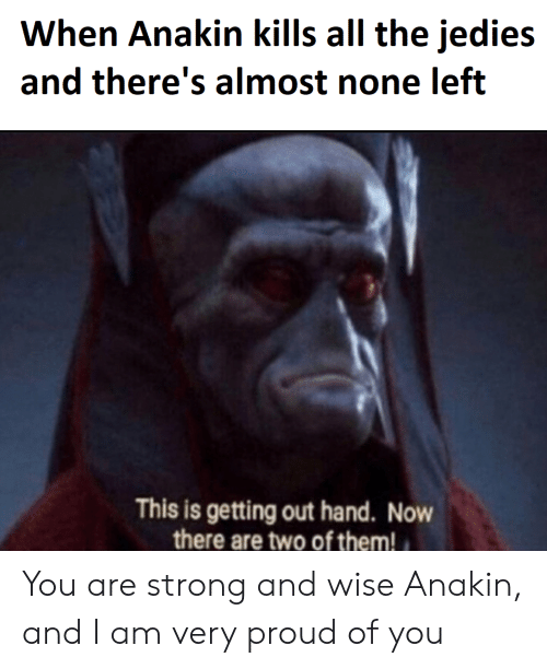 Proud, Strong, and All The: When Anakin kills all the jedies  and there's almost none left  C)  C)  This is getting out hand. Now  there are two of them! You are strong and wise Anakin, and I am very proud of you