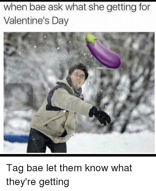 Funny, Valentine, and Valentine Day: when bae ask what she getting for  Valentine's Day Tag bae let them know what they're getting