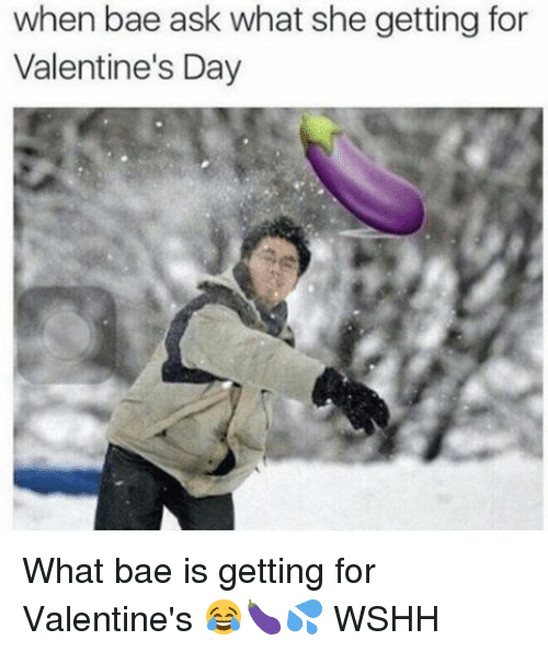 Memes, 🤖, and Valentine: when bae ask what she getting for  Valentine's Day What bae is getting for Valentine's 😂🍆💦 WSHH