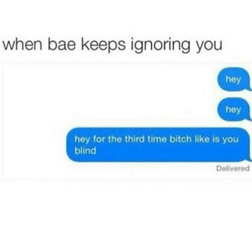 Blinds, Hey, and Hey Hey Hey: when bae keeps ignoring you  hey  hey  hey for the third time bitch like is you  blind  Delivered