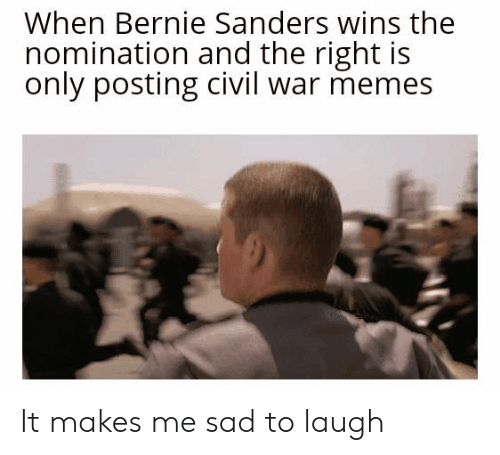 Bernie Sanders, Memes, and Politics: When Bernie Sanders wins the  nomination and the right is  only posting civil war memes It makes me sad to laugh