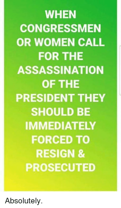 Assassination, Memes, and Women: WHEN  CONGRESSMEN  OR WOMEN CALL  FOR THE  ASSASSINATION  OF THE  PRESIDENT THEY  SHOULD BE  IMMEDIATELY  FORCED TO  RESIGN &  PROSECUTED Absolutely.