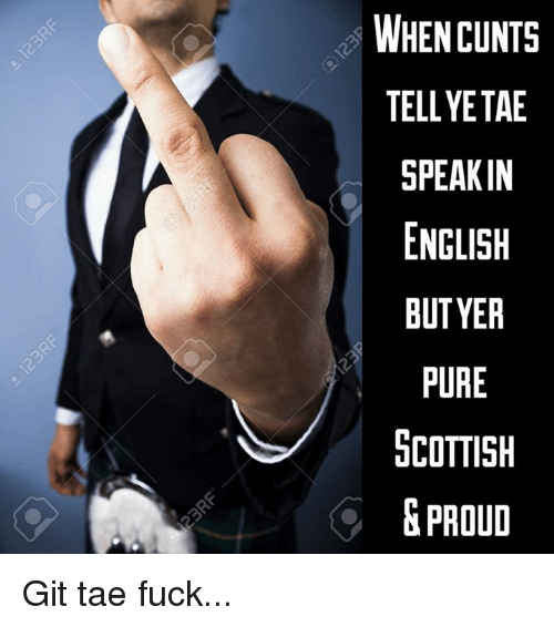 Memes, English, and Proud: WHEN CUNTS  TELLYETAE  SPEAKIN  ENGLISH  BUTYER  PURE  COTTISH  &PROUD Git tae fuck...