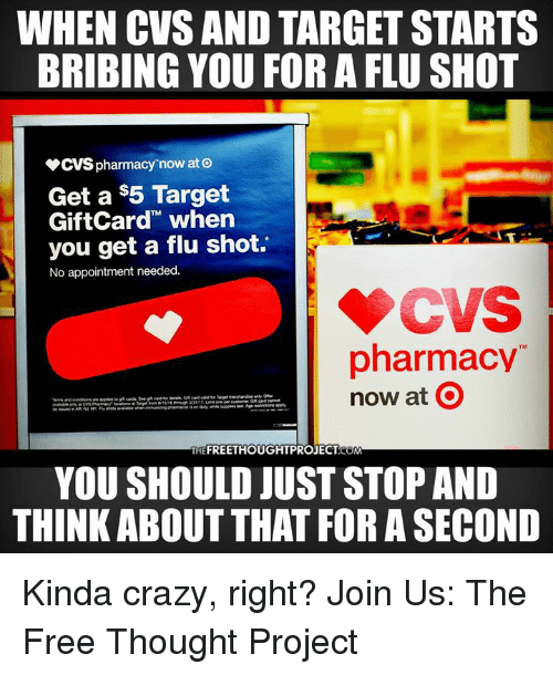 when cvs and target starts bribing you for a flu shot cvs pharmacy
