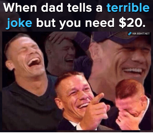 Dad, Memes, and 🤖: When dad tells a terrible  joke but you need $20  VIA 8SHIT.NET