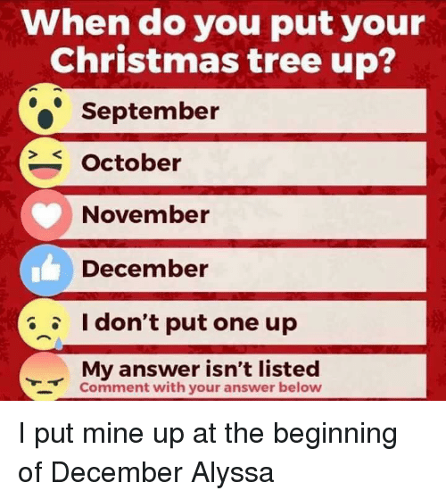When Do You Put Your Christmas Tree Up? September October