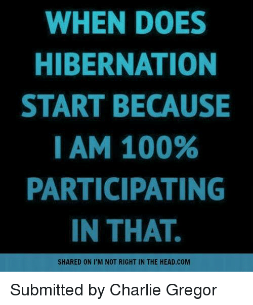 Charlie, Memes, and 🤖: WHEN DOES  HIBERNATION  START BECAUSE  I AM 100%  PARTICIPATING  IN THAT.  SHARED ON I M NOT RIGHT IN THE HEAD.COM Submitted by Charlie Gregor
