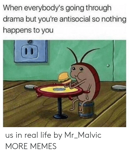 Dank, Life, and Memes: When everybody's going through  drama but you're antisocial so nothing  happens to you us in real life by Mr_Malvic MORE MEMES