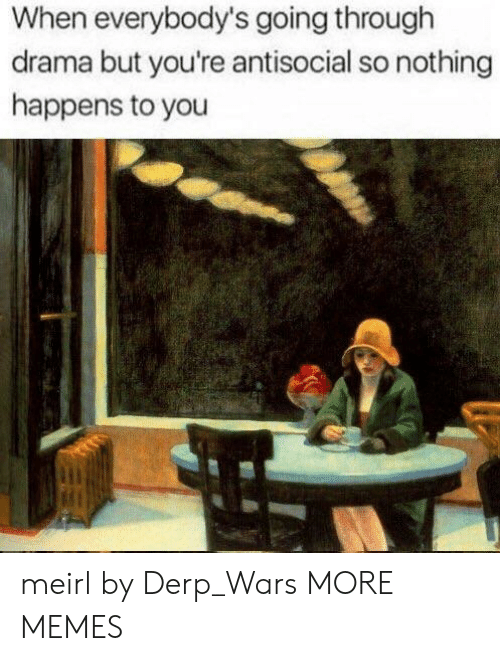 Dank, Memes, and Target: When everybody's going through  drama but you're antisocial so nothing  happens to you meirl by Derp_Wars MORE MEMES