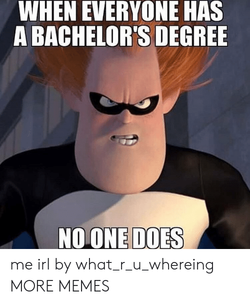 Dank, Memes, and Target: WHEN EVERYONE HAS  A BACHELOR'S DEGREE  NOONE DOES me irl by what_r_u_whereing MORE MEMES