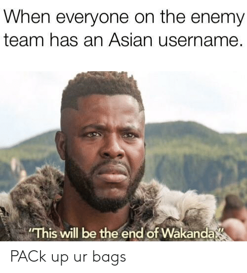 Asian, Team, and The Enemy: When everyone on the enemy  team has an Asian username.  This will be the end of Wakanda PACk up ur bags