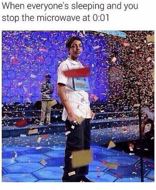 Memes, Sleeping, and 🤖: When everyone's sleeping and you  stop the microwave at 0:01