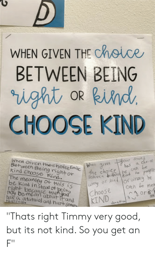 WHEN GIVEN THE Choce BETWEEN BEING CHOOSE KIND Hobe Can When