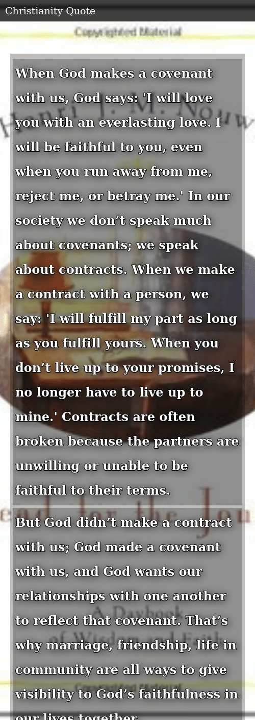 When God Makes a Covenant With Us God Says 'I Will Love You