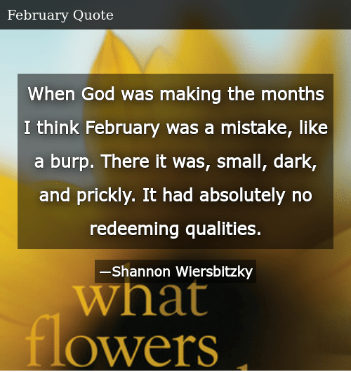 SIZZLE: When God was making the months I think February was a mistake, like a burp. There it was, small, dark, and prickly. It had absolutely no redeeming qualities.