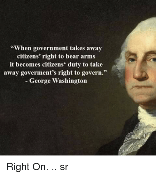 "Memes, Bear, and Bears: ""When government takes away  citizens' right to bear arms  it becomes citizens' duty to take  away goverment's right to govern.""  George Washington Right On. .. sr"