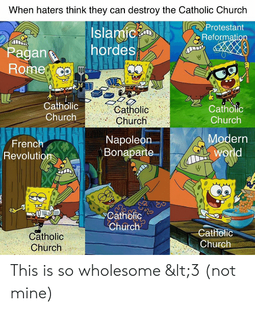 Church, Revolution, and World: When haters think they can destroy the Catholic Church  Protestant  Islamic  hordes  Reformation  Pagan  Rome  o00  Catholic  Catholic  Catholic  Church  Church  Church  Modern  world  Napoleon  Bonaparte  French  Revolution  Catholic  Church  Catholic  Catholic  Church  Church This is so wholesome <3 (not mine)