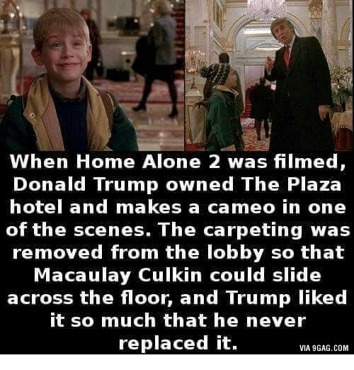 Macaulay Culkin, Hotel, and Com: When Home Alone 2 was filmed,  Donald Trump owned The Plaza  hotel and makes a cameo in one  of the scenes. The carpeting was  removed from the lobby so that  Macaulay Culkin could slide  across the floor, and Trump liked  it so much that he never  replaced it.  VIA 9GAG.COM