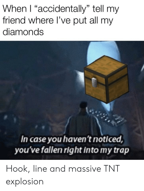 """Trap, Hook, and Tnt: When I """"accidentally"""" tell my  friend where l've put all my  diamonds  In case you haven't noticed,  you've fallen right into my trap Hook, line and massive TNT explosion"""