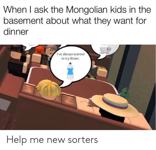 Help, Kids, and Water: When I ask the Mongolian kids in the  basement about what they want for  dinner  I've always wanted  to try Water. Help me new sorters
