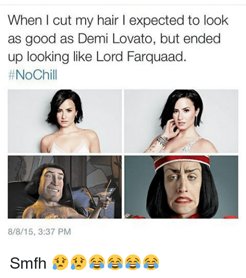 Demi Lovato, Funny, and Ups: When I cut my hair l expected to look  as good as Demi Lovato, but ended  up looking like Lord Farquaad.  NoChill  8/8/15, 3:37 PM Smfh 😥😥😂😂😂😂