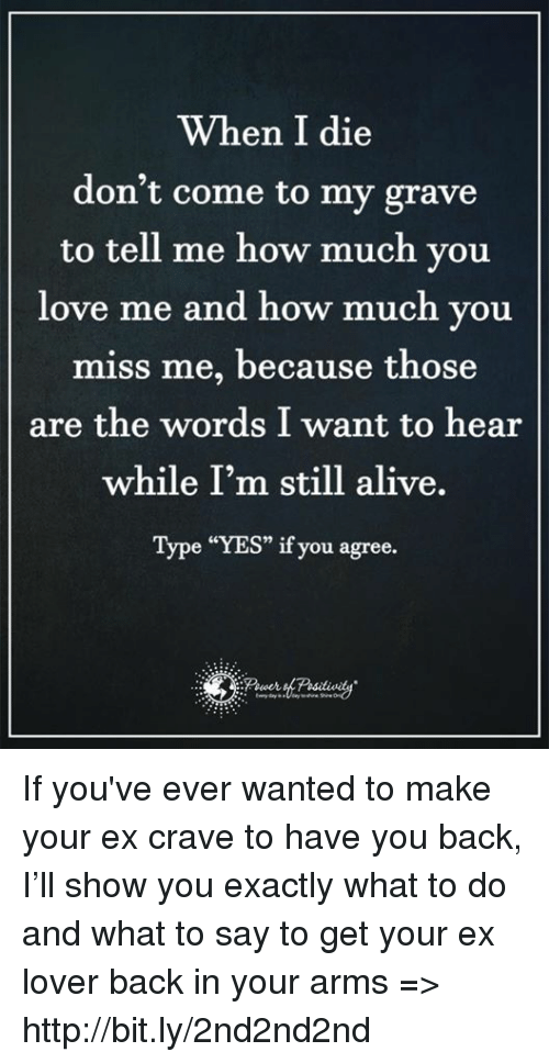 "Alive, Love, and Memes: When I die  don't come to my grave  to tell me how much you  love me and how much you  miss me, because those  are the words I want to hear  while I'm still alive.  Type ""YES"" if you agree. If you've ever wanted to make your ex crave to have you back, I'll show you exactly what to do and what to say to get your ex lover back in your arms => http://bit.ly/2nd2nd2nd"