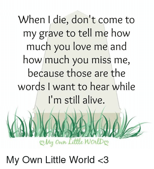 Alive, Love, and Memes: When I die, don't come to  my grave to tell me how  much you love me and  how much you miss me,  because those are the  words I want to hear while  I'm still alive.  oMy Owh Little WorlDo My Own Little World <3