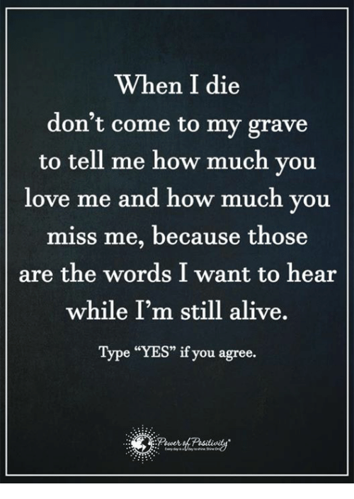 "Alive, Love, and Memes: When I die  don't come to my grave  to tell me how much you  love me and how much you  miss me, because those  are the words I want to hear  while I'm still alive.  Type ""YES"" if you agree."