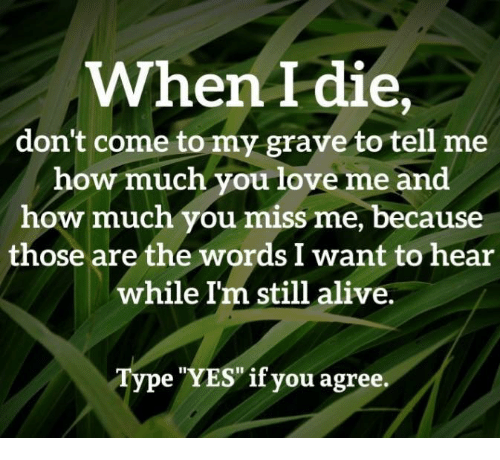"""Alive, Love, and Memes: When I die,  don't come to my grave to tell me  how much you love me and  how much you miss me, because  those are the words I want to hear  while I'm still alive.  Type """"YES""""if you agree"""