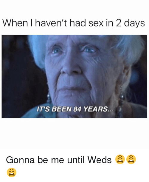 Sex, Dank Memes, and Been: When I haven't had sex in 2 days  IT'S BEEN 84 YEARS Gonna be me until Weds 😩😩😩