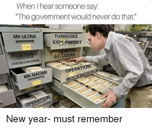"""Children, New Year's, and St Louis: When I hear someone say  The government would never do that""""  MK-ULTRA  TUSKEGEE  EXPERIMENT  Mir  POISONING  ST. LOUIS  FOSTER CHILDREN  OPERATION  MK-NAOMI  NGBIR  ATION New year- must remember"""