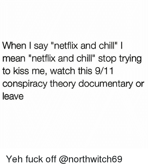 "9/11, Chill, and Memes: When I say ""netflix and chill"" l  mean netflix and chill"" stop trying  to kiss me, watch this 9/11  conspiracy theory documentary or  leave Yeh fuck off @northwitch69"