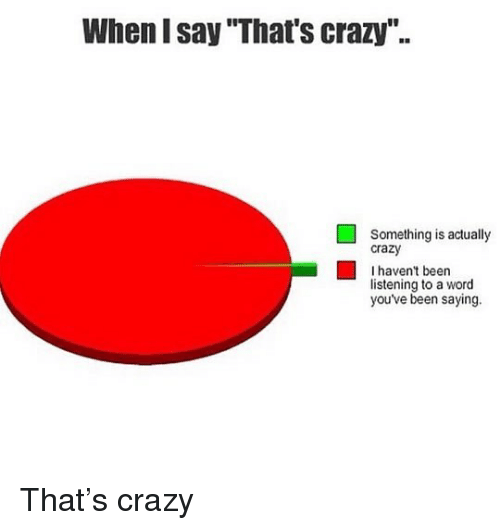 "Crazy, Memes, and Word: When I say That's crazy""..  Something is actually  crazy  I haven't been  listening to a word  you've been saying. That's crazy"