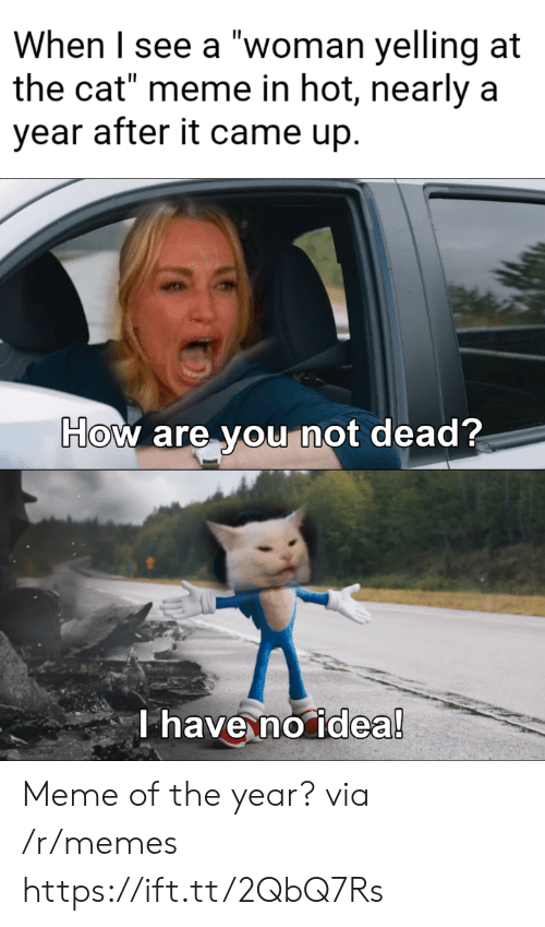 """Meme, Memes, and How: When I see a """"woman yelling at  the cat"""" meme in hot, nearly a  year after it came up.  How are you not dead?  T have no idea! Meme of the year? via /r/memes https://ift.tt/2QbQ7Rs"""