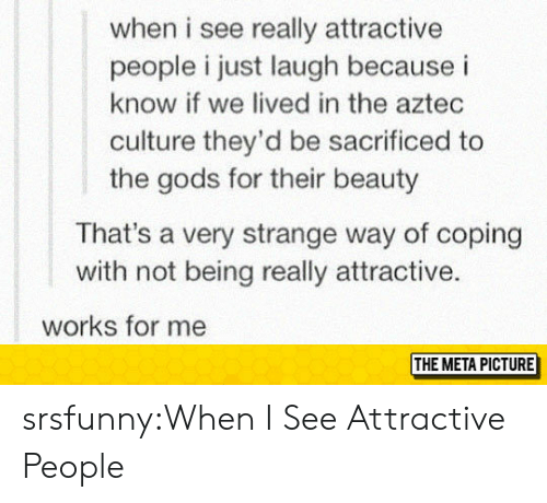 Tumblr, Blog, and Http: when i see really attractive  people i just laugh because i  know if we lived in the aztec  culture they'd be sacrificed to  the gods for their beauty  That's a very strange way of coping  with not being really attractive.  works for me  THE META PICTURE srsfunny:When I See Attractive People