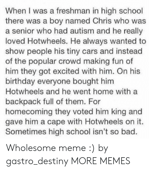 Bad, Birthday, and Cars: When I was a freshman in high school  there was a boy named Chris who was  a senior who had autism and he really  loved Hotwheels. He always wanted to  show people his tiny cars and instead  of the popular crowd making fun of  him they got excited with him. On his  birthday everyone bought him  Hotwheels and he went home with a  backpack full of them. For  homecoming they voted him king and  gave him a cape with Hotwheels on it.  Sometimes high school isn't so bad. Wholesome meme :) by gastro_destiny MORE MEMES