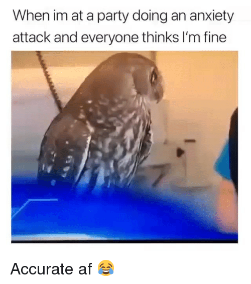Af, Funny, and Party: When im at a party doing an anxiety  attack and everyone thinks I'm fine Accurate af 😂