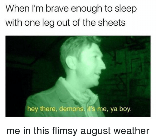Memes, Brave, and Braves: When I'm brave enough to sleep  with one leg out of the sheets  hey there, demons, it's me, ya boy. me in this flimsy august weather