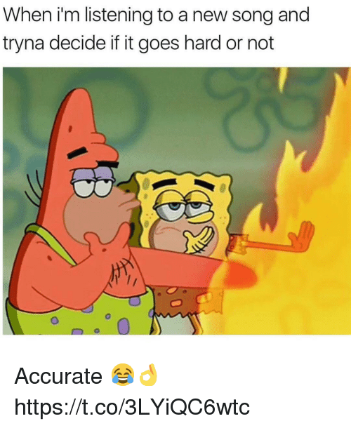 Song, New, and Accurate: When I'm listening to a new song and  tryna decide if it goes hard or not  0 Accurate 😂👌 https://t.co/3LYiQC6wtc